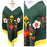 Vintage VTG 1970s 70s Green Yellow Floral Boho Fringed Poncho Top