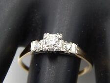 ART DECO  3-stone European Cut Diamond Ring .31 tcw H/VS 14k Estate Handmade