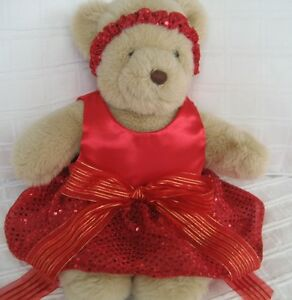 Teddy Bear Clothes, Handmade Holly Red Satin, Sequin Look Dress & Headband