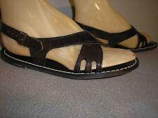 6.5 Nos True Vtg 1970s Italy Dk Brown Wrap SlingBack Flat Hippie Sandal 70s Shoe