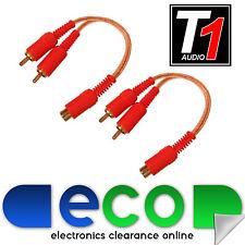 T1 Car Audio Amp claro Ofc Rca Phono Amplificador Divisores 2 Machos 1 Hembra (par)