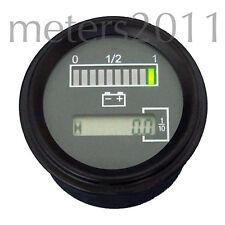 """2"""" 24 Volt Battery Indicator w/ Hour Meter, Gauge -Tri-color - ROUND"""