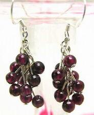4mm Round Natural Garnet Grape Dangle Earrings for Women Stering Silver 925 Hook