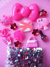 Mix Hot pink Bow hello kitty Resin cabochon DIY cell phone case Decoration kits