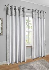 "Crushed Velvet Faux Silk Eyelet Curtains / Silver-White / 66""x54"" / IMPERFECT"