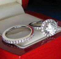 Impressive 3.60Ct White Round Cut Engagement Ring Set Certified 14K White Gold