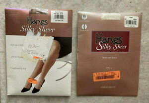 2 Hanes Silky Sheer sz AB Control Top Pantyhose Stockings Pearl - Barely There
