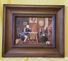 Vintage Painting on wooden board friendly Encounter 22x26 Inches