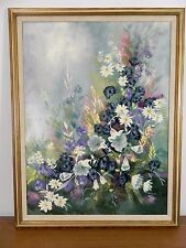 """Huge Original Floral Oil on Canvas Painting by Thomas Pell 35"""" x 45"""""""