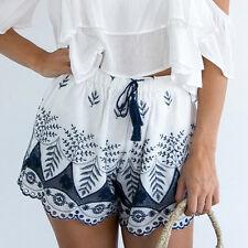 Women Summer Bohemian Lace Shorts Embroidery Casual Beach Shorts Pants M US