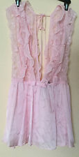 $198 Victorias Secret Designer Collection Pink Chantilly Lace Sheer Babydoll M