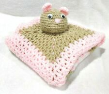 Handmade Crochet Granny Square Knit Acrylic Pink Knitted Baby Blanket 28 x 28