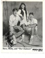 """AUTOGRAPHED PHOTO OF DAVE, SHELLY, AND """"THE CHAINSAW""""  ROCK 102.1 K10Z FM"""