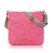 Fuchsia Pink Sitting Birds Canvas Cross Body School Messenger Bag Birthday Gift