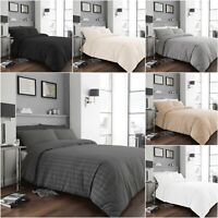 Seersucker Duvet Cover Bedding Set Ruffle Charcoal Pleated Polycotton Luxury Set