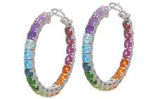 Judith Ripka Sterling Silver Rainbow Gem Hoop Earrings, 11.00cttw QVC $235