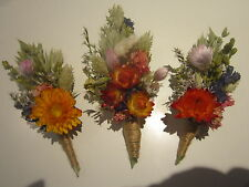 BUTTONHOLES Bespoke Wedding Dried Flowers. MADE IN ANY COLOURS to your design