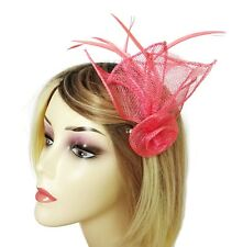 Elegant Pink Flower Fascinator Hair Clip Grip and Corsage Pin