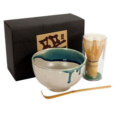 Japanese Tea Ceremony Matcha Bowl, Scoop/ Whisk Set/AOKAZE With Gift Box/ A-4