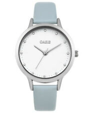 Oasis Women's Quartz Watch With White Dial Analogue Display and Blue PU Strap SB003E