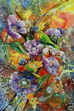 Rainbow Lorikeet,Paper print original painting,birds,flowers,Australian art,new