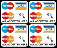 4 x VISA MAESTRO MASTERCARD CONTACTLESS ACCEPTED STICKERS FOR SHOP TAXI EPOS 4S