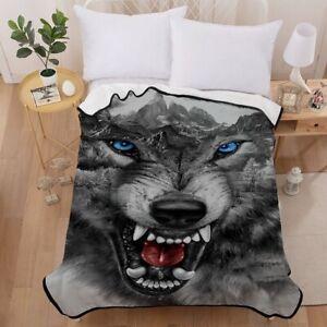 Fashion 3D Polyester Blanket 150cm*200cm Home Bedding Warm Winter Wolf A1