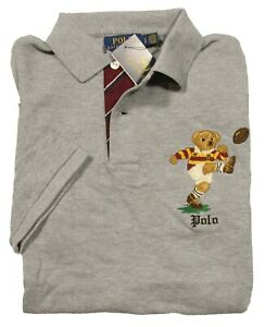 Polo Ralph Lauren Men's Grey Rugby Bear Graphic Short Sleeve Classic Fit Polo