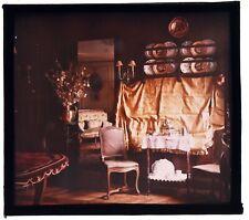 FRANCEBEL AUTOCHROME LUMIERE 1910 INTERIEUR BOURGEOIS PLAQUE DE VERRE 10x10 cms