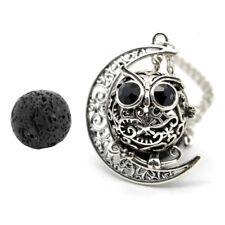 Atq Silver Owl Pendant Locket Essential oil Diffuser Necklace Lava Stone Jewelry