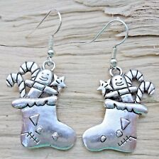 Christmas Stocking & Candy Canes Tibetan Silver Large Dangle Hook Earrings NEW
