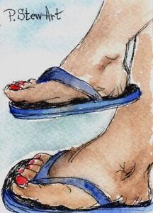 ACEO Flip Flops WC + pen Illustration shoes sandals feet Naive Art Penny StewArt