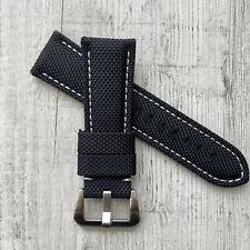 Black + White Stiching Nylon / leather watch strap Band For 22/24/26mm Panerai