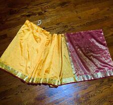 """RICH ART SILK Yellow Ready-to-Wear GIRLS SAREE + BLOUSE. Width: 27""""  US Seller."""