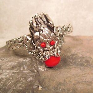 Tibetan Nepal Red Coral Unisex Gemstone Magical Carved Dragon Cuff Bracelet