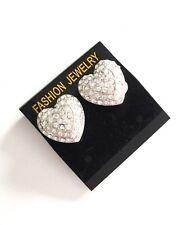 Heart Diamanté Clip on Earrings Studs Clips Ear Fashion Jewellery Gift
