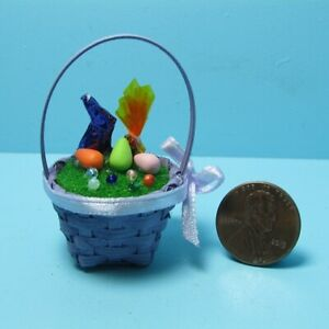 Dollhouse Miniature Easter Purple Wicker Basket Filled with Goodies B0323