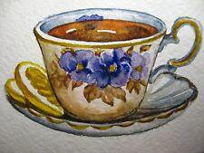 Watercolor Painting Ceramic Cup Tea Slice of Lemon Citrus Fruit ACEO Art Card