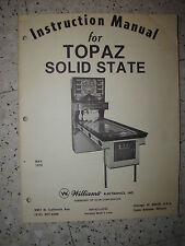 FLIPPER WILLIAMS 1970 MANUEL TECHNIQUE - TOPAZ - MANUAL INSTRUCTION + SUPPLEMENT