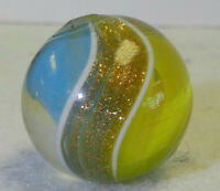 #12099m Large .76 Inches German Handmade 2 Color Ribbon Lutz Marble