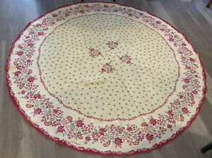 Round Tablecloth, French Country, Flowers & Leaves, La Provence, Pink & Yellow