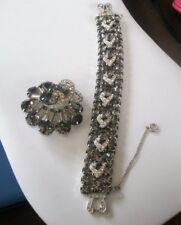 Vintage Signed WEISS Black Diamond Rhinestone Bracelet and Brooch Set Icing