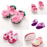 Baby Newborn Infant Girls Flower Crochet Knit Socks Crib Casual Shoes Prewalker