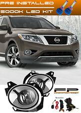 For 2013-2016 Nissan Pathfinder Chrome Trim Clear Lens Fog Light Full Kit + LED