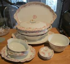10 Piece Lot GDA LIMOGES Serving Pieces - Pink Flower Swag, Scalloped