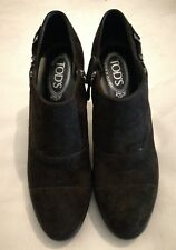 TOD'S Suede Heels Zip Suede Shoe Boots Chocolate Brown RRP £385 Made in  Italy