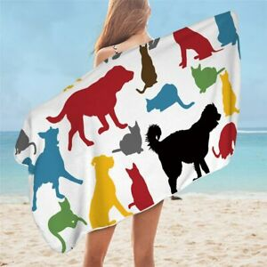 Silhouette Cats Dogs Animal Pet Travel Holiday Beach Bath Summer Towel