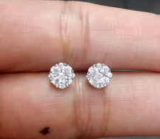 DEAL! 0.50CT NATURAL ROUND DIAMOND CLUSTER STUD EARRING IN 14 K GOLD 5.9 MM
