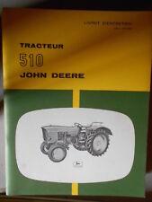 John Deere tracteur 510 : livret d'entretien 25008