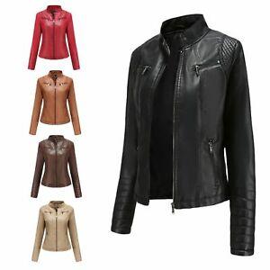 Women Blazer Jacket Pu Leather Zip Up Biker Jacket Ladies Slim Coat Outwear 4XL
